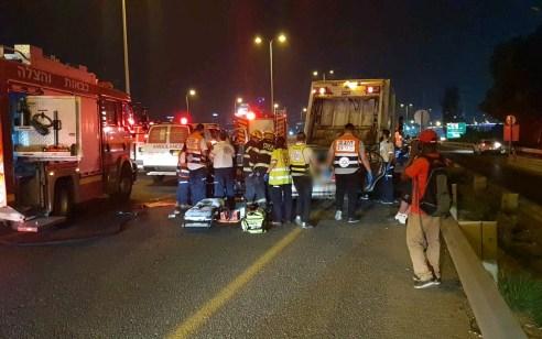 5 פצועים בתאונה בין משאית אשפה לרכב פרטי בכביש 4 סמוך למחלף גהה