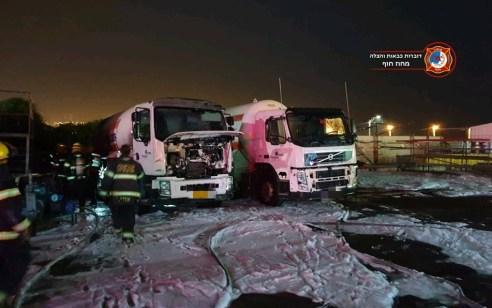 נזק למשאיות ומבנה בפיצוץ מכלית גז במפרץ חיפה