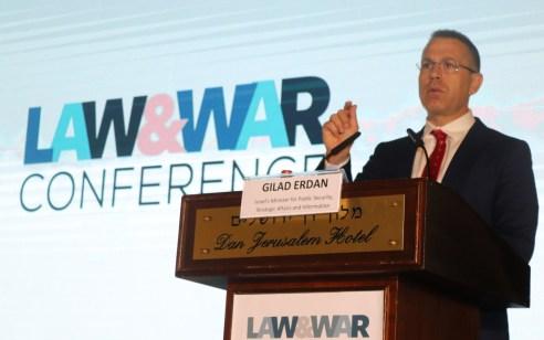 """השר ארדן בכנס דיני מלחמה של ארגון 'שורת הדין': """"היום האו""""ם מאפשר את הטרור והמצב הזה חייב להיפסק"""""""