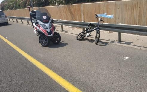 רוכב אופניים חשמליים נהרג מפגיעת רכב בכביש 471 ממחלף שעריה לגת רימון