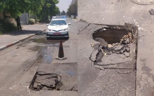 בור נפער בכביש בחולון – הכביש נחסם לתנועה