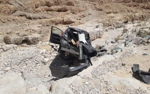 רכב התדרדר לתהום בכביש 90 צומת הערבה – אישה כבת 40 פונתה במצב קשה