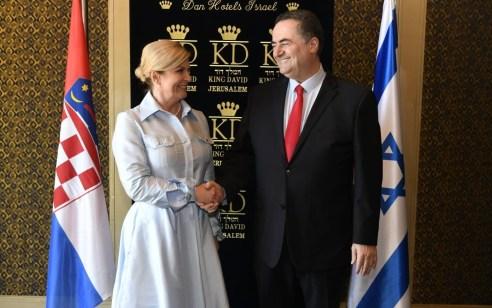"""נשיאת קרואטיה גראבר קיטרוביץ' נפגשה במלון """"המלך דוד"""" בירושלים עם שר החוץ ישראל כ""""ץ"""