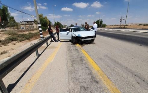 נהג רכב כבן 30 נפצע בינוני לאחר שהתנגש בעמוד בכביש 25 סמוך למנחת שדה תימן