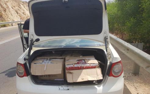 סוכלה הברחה של כ- 67,680 סיגריות מהשטחים לישראל באזור ברטעה