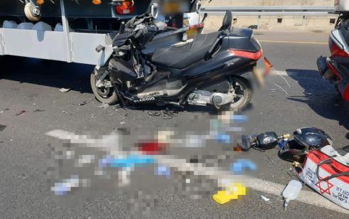רוכב אופנוע בן 24 נפצע אנוש בתאונה עם משאית באור יהודה