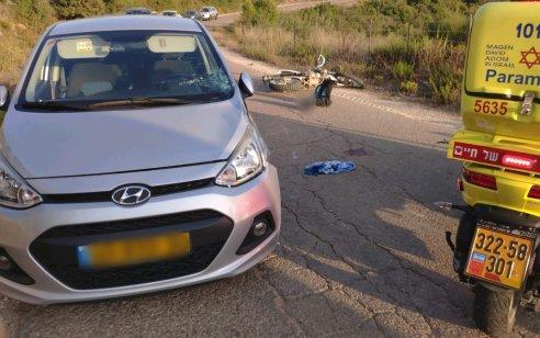 רוכב אופנוע בן 37 נפגע מרכב בכביש 721 לכיוון יערות הכרמל – מצבו קשה