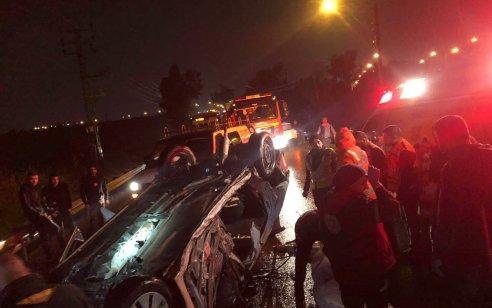 אישה נהרגה וחמישה נפצעו בינוני וקל בתאונה בכביש 5504 סמוך למחלף אייל