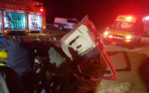 שלושה פצועים קשה ובינוני בהתהפכות רכב סמוך למצפה רמון