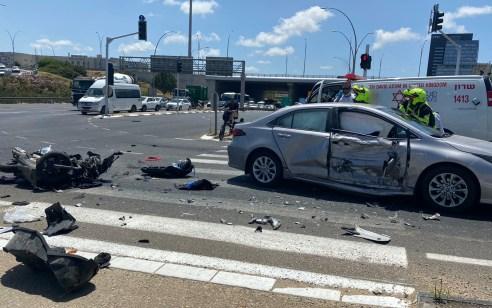 רוכב אופנוע בן 39 נפצע קשה בתאונה בכביש 4 סמוך לרעננה