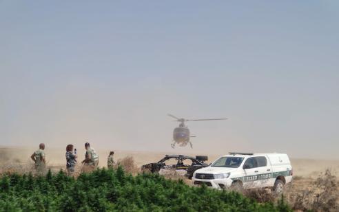 בסיוע מסוק משטרתי אותרו 23 חממות לגידול קנאביס בשטחי האש בדרום ובהן כ- 15,400 שתילים