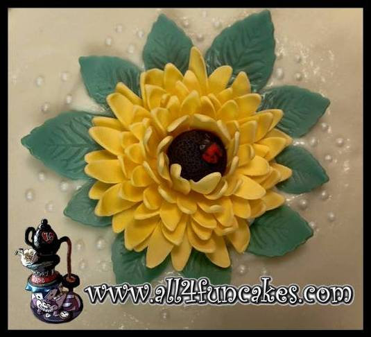 3D Sculpted Fondant Flower with Ladybug Cake Topper by All4Fun Cakes
