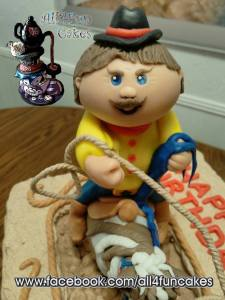 3D Sculpted Fondant Rodeo Cowboy Cake Topper by All4Fun Cakes