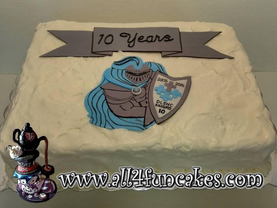 10 year High School Reunion Cake with School Logo by All4Fun Cakes LLC