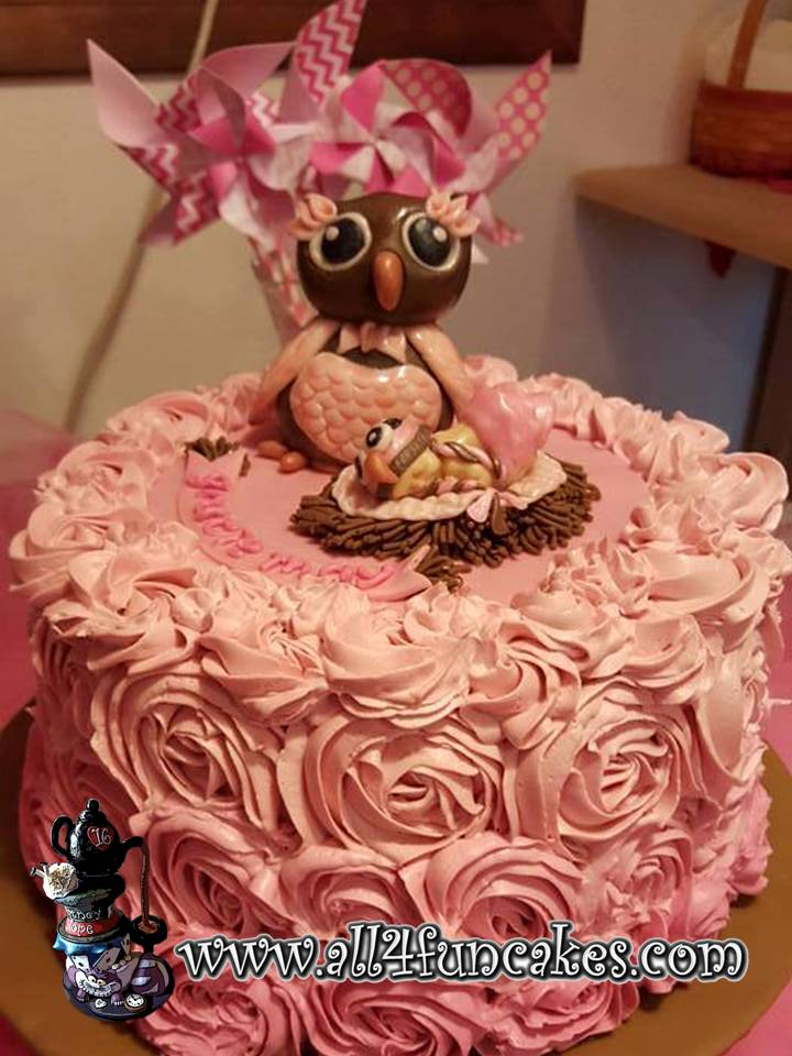 Owl and Baby Girl Fondant Toppers on Pink Ombre Buttercream Roses Baby Shower Cake by All4Fun Cakes
