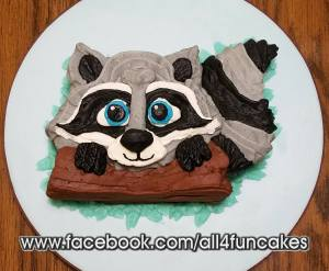 Adorable Racoon Smash Birthday Cake by All4Fun Cakes LLC