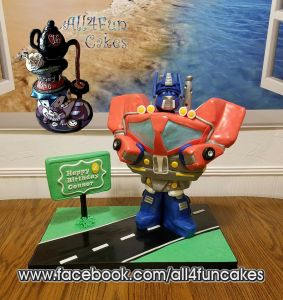 Sculpted Transformer Optimus Prime Birthday Cake by All4Fun Cakes