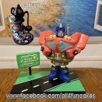 Sculpted Transformer Optimus Prime Cake by All4Fun Cakes LLC 2016