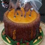 Tree Stump with Ammo Wedding Cake - Topper provided by Bride - All4Fun Cakes LLC