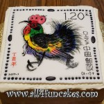 Hand Painted Year of the Rooster Postage Stamp Special Occasion Cake by All4Fun Cakes LLC 2017