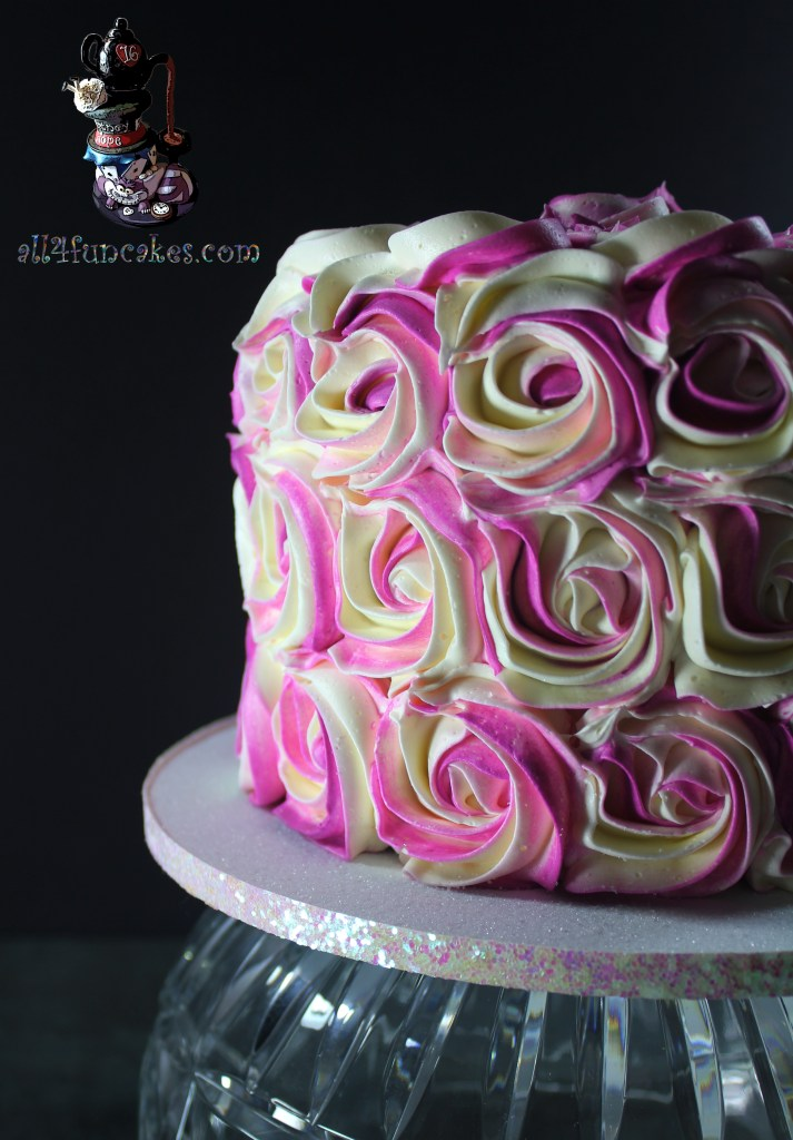 Raspberry Cheesecake Dessert Cake with Buttercream Frosting Roses by All4fun Cakes