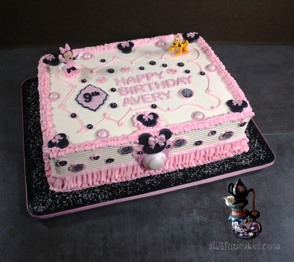 Minnie Mouse Theme Sinful Decadence Chocolate Birthday Cake with White Chocolate Buttercream and Fondant Decorations by All4Fun Cakes