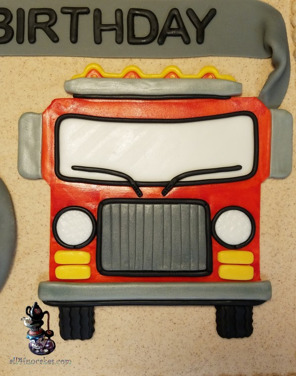 Candy Flames Fire Fighting Engine Truck Hose Birthday Cake for Gladstone Fire Department by All4Fun Cakes