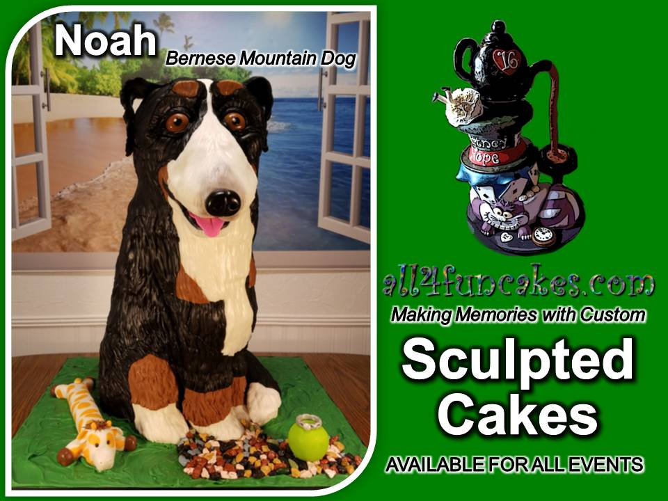 Noah the Bernese Mountain Dog 3D Sculpted Cake by All4Fun Cakes