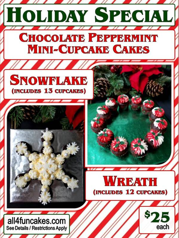 Mini Cupcake Cakes Snowflake or Wreath - Christmas Holiday Special 2017 - All4Fun Cakes