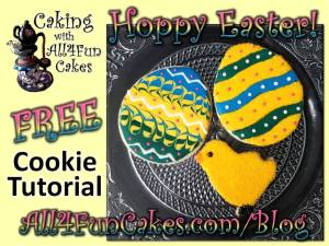 How to Make Cute Baby Chick and Easter Eggs Cookies FREE DIY Easy Cookie Decorating Tutorial by Caking with All4Fun Cakes LLC 2018