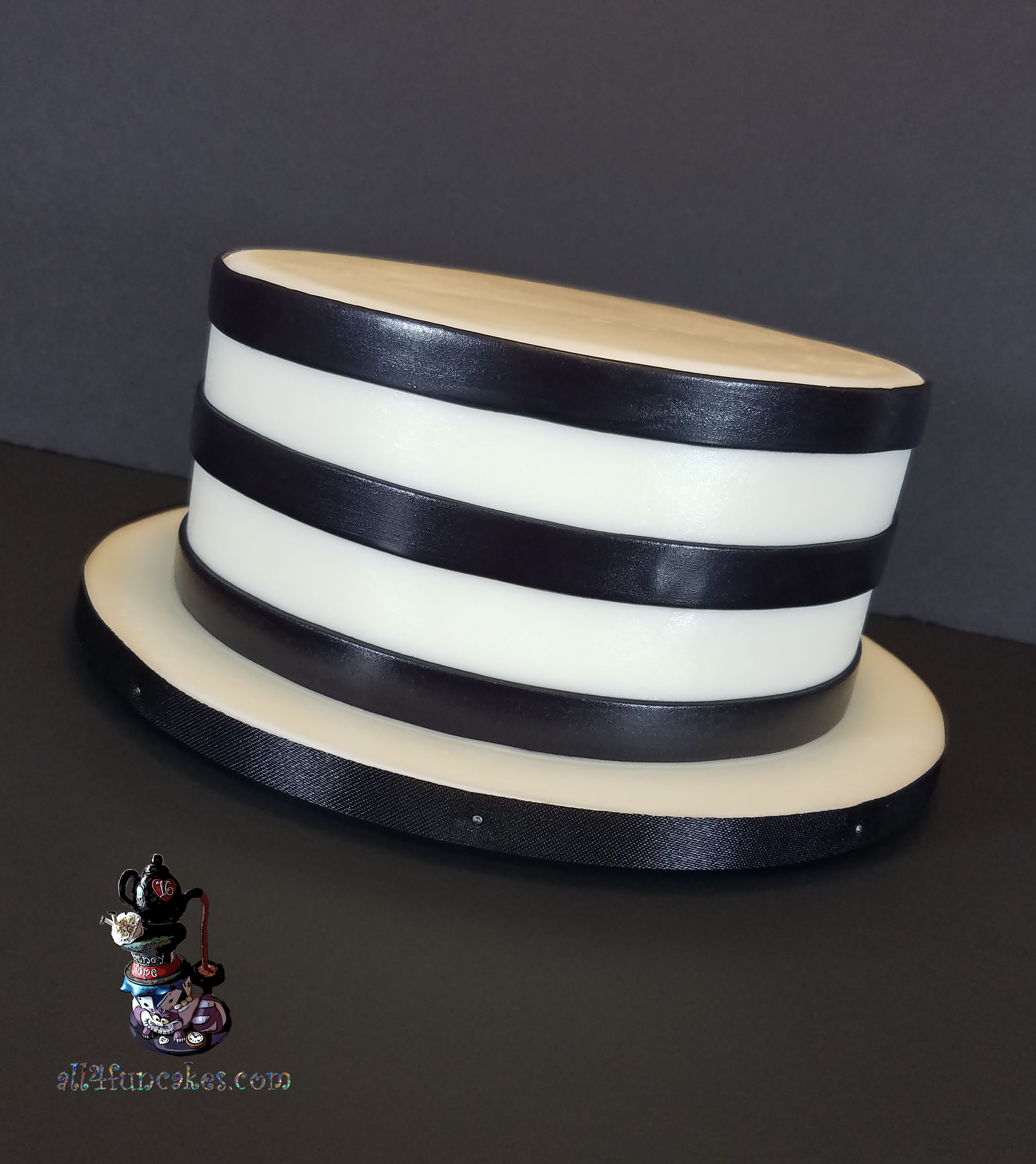 Black and White Horizontal Fondant Stripes Wedding Anniversary Cake by All4Fun Cakes LLC 2018