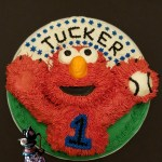 Elmo Plays Baseball Vanilla Rapture Sculpted Smash Birthday Cake by All4Fun Cakes 2017