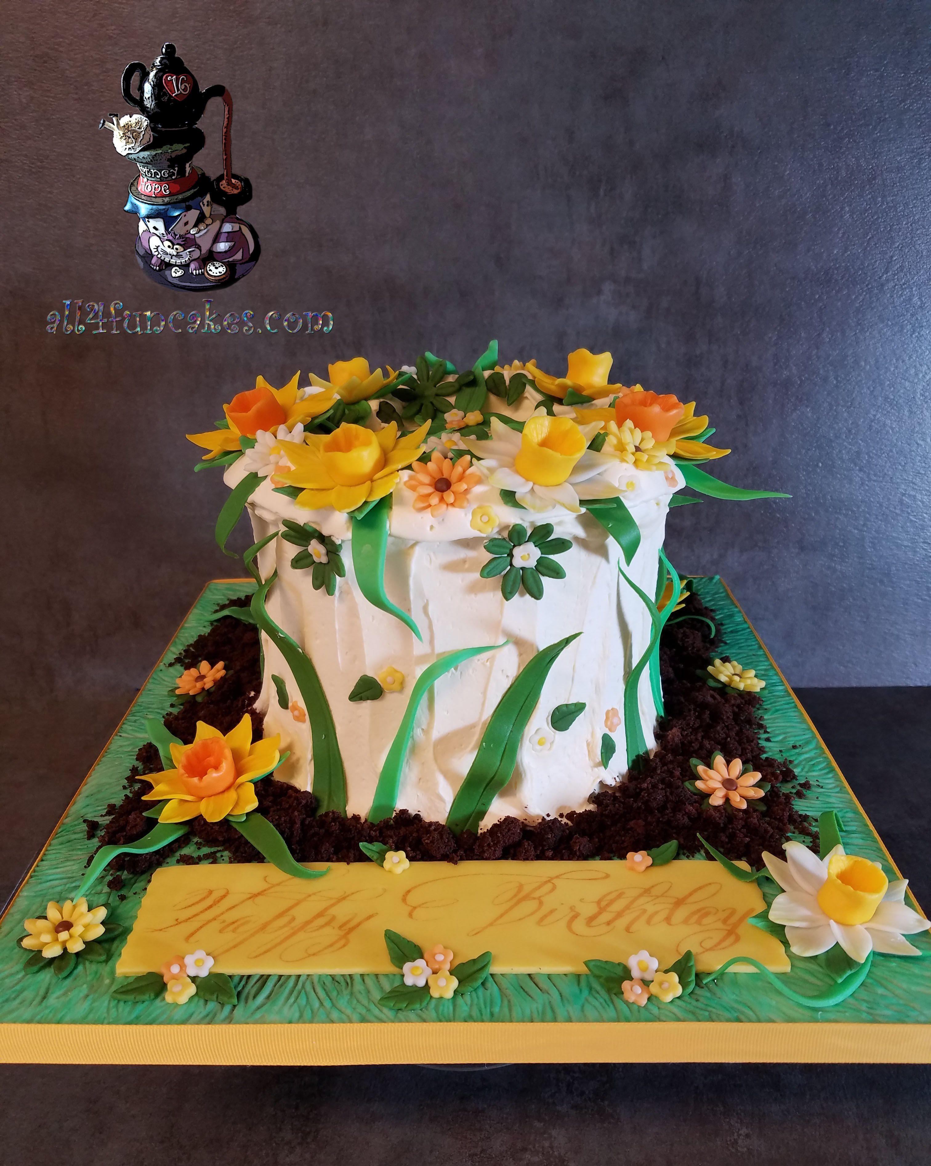 Special Occasion Fondant Daffodils and Flower Garden Chocolate Birthday Cake with Caramel Buttercream by All4Fun Cakes LLC