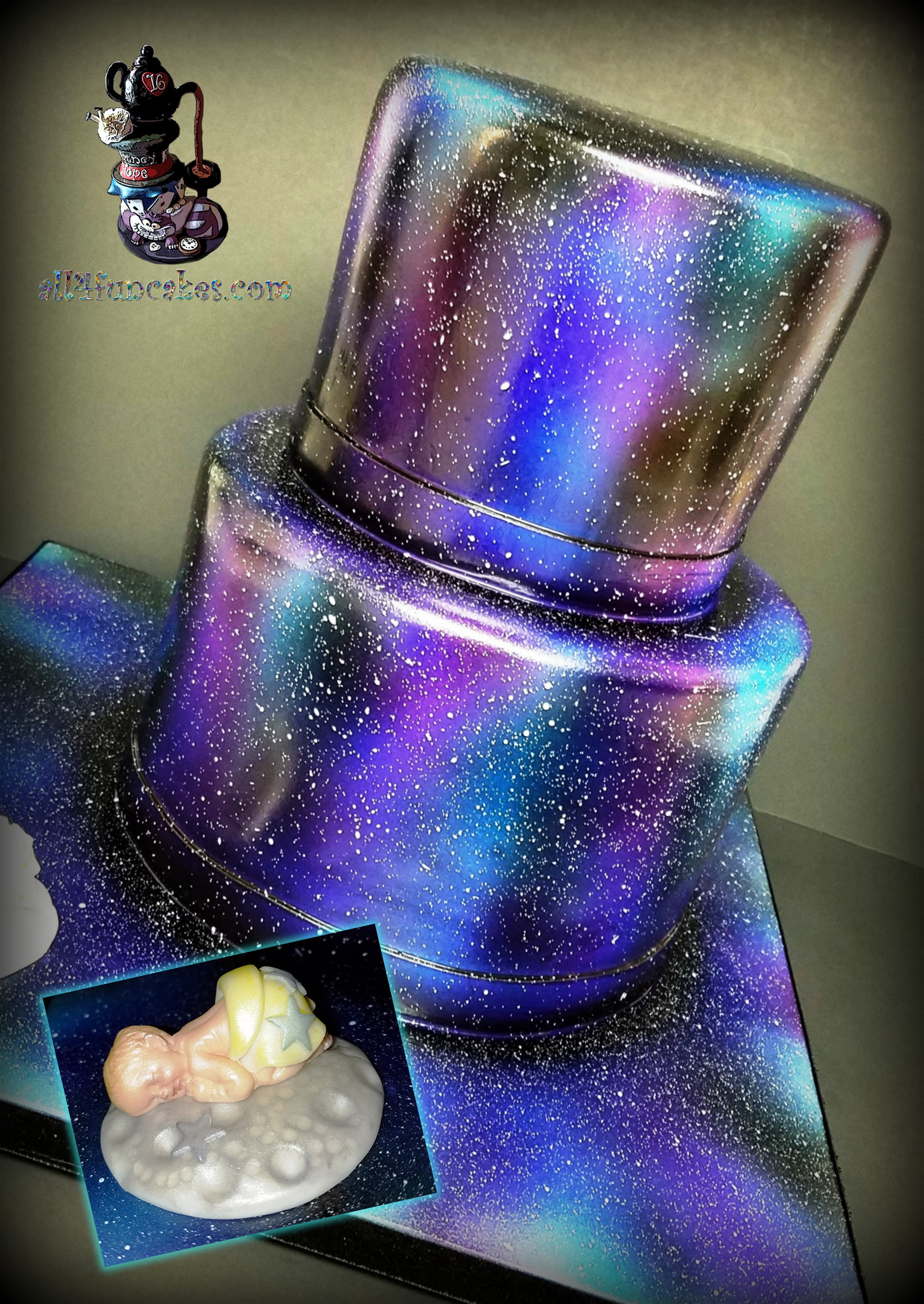 Galaxy Baby Shower Cake with Moon and Star Baby by All4Fun Cakes LLC 2017