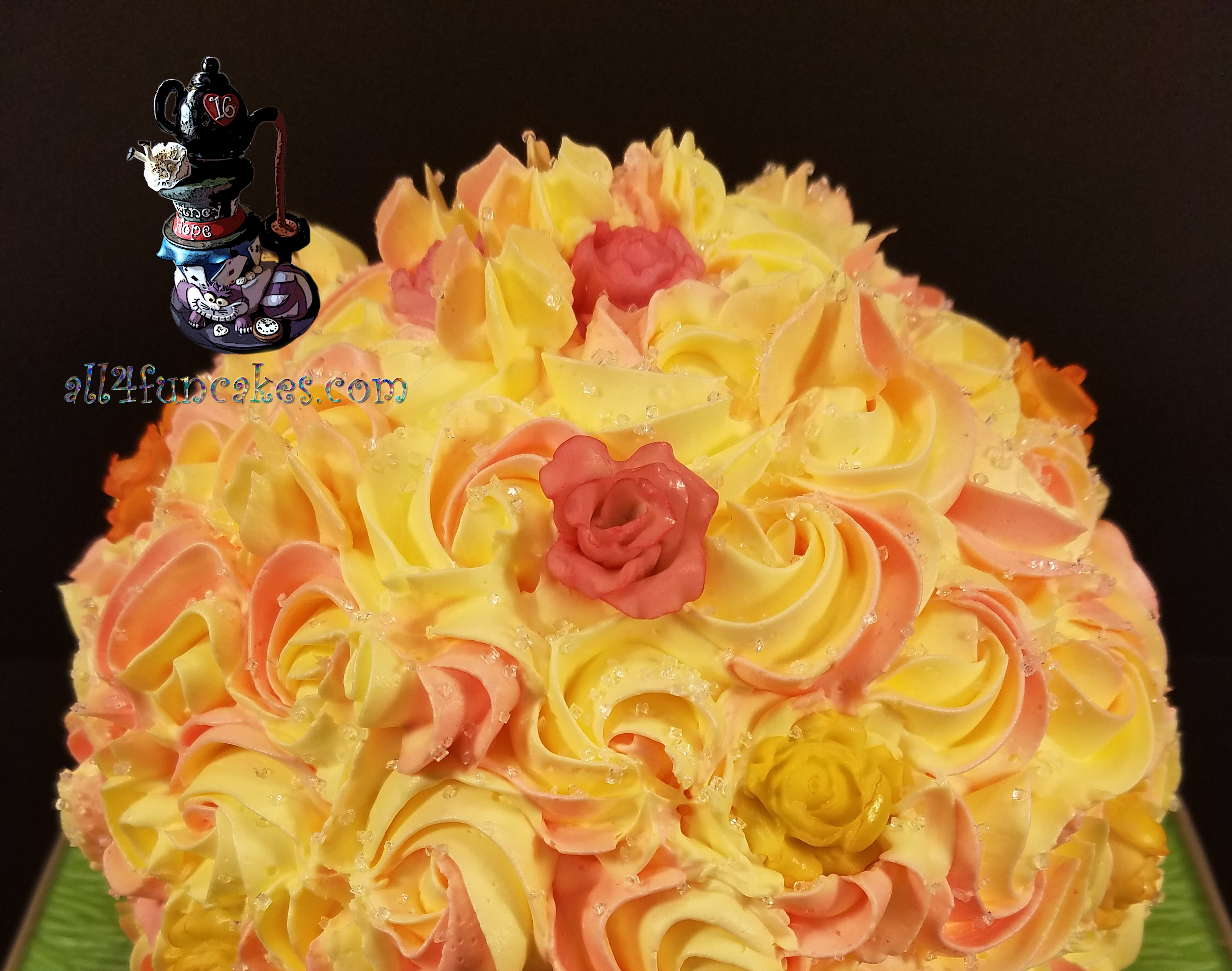 Special Occasion Lemon Flowers Mothers Day Cake by All4Fun Cakes LLC 2017