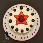 Holiday Party Patriotic Gluten Free Vanilla Dessert Cake with Fresh Strawberries and Blueberries for Memorial Day by All4Fun Cakes LLC 2017