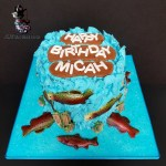 Special Occasion Salmon Swimming Fish Theme Birthday Cake by All4Fun Cakes LLC 2018