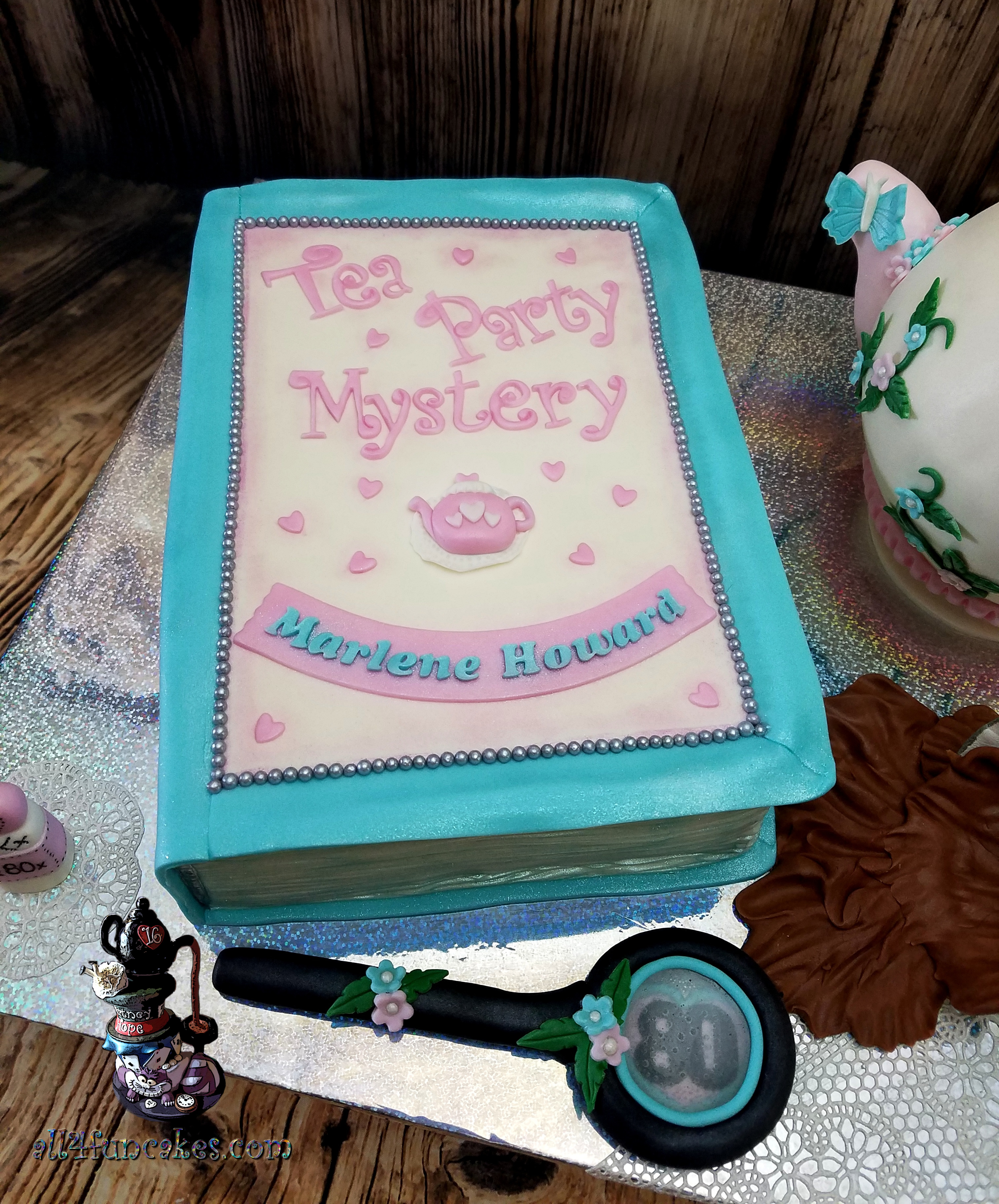 Tea Party Mystery Book Sculpted Birthday Teapot Carrot Cake by All4Fun Cakes LLC 2018