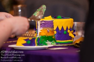 Colorful Pure Heaven White Chocolate Cake, Lemon Fruit Filling, White Chocolate Buttercream and Marshmallow Fondant. Hand-Crafted Pastillage Sugar Mask Topper and Custom Beaded Stand - Mardi Gras Cake Table - All4Fun Cakes LLC 2018