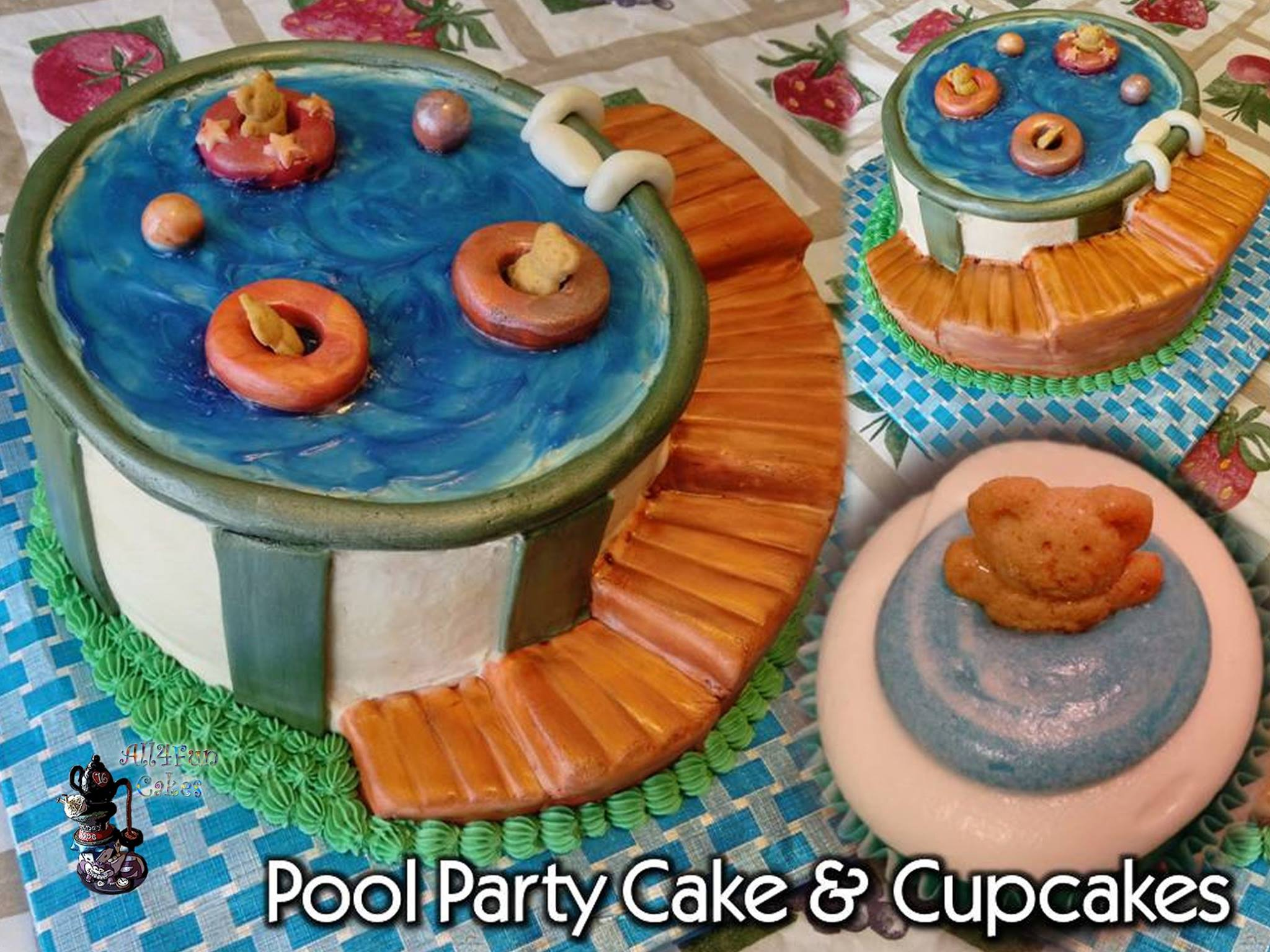 Birthday Holiday Party Special Occasion Teddy Swimming Pool Party Cake with matching Cupcakes by All4Fun Cakes LLC