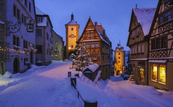 γραφικές χειμερινές πόλεις του κόσμου Rothenburg ob der Tauber, Germany