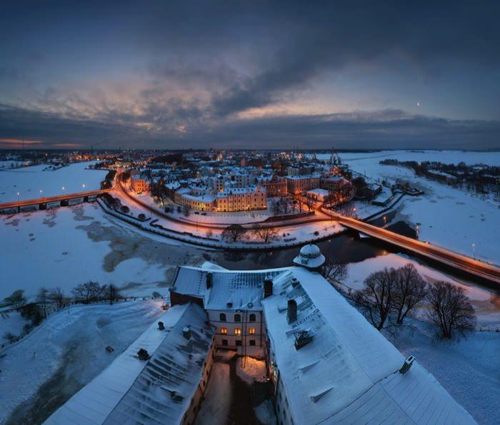 γραφικές χειμερινές πόλεις του κόσμου Vyborg, Russia