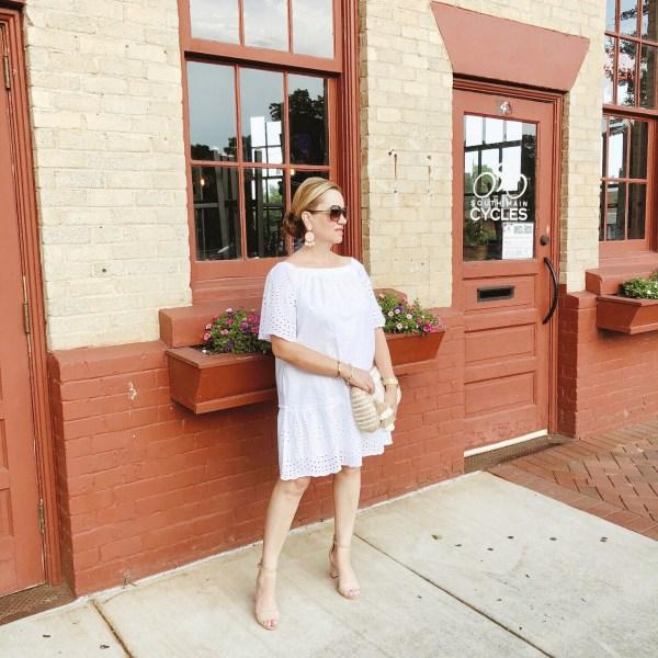 White Eyelet Off the Shoulder Dress