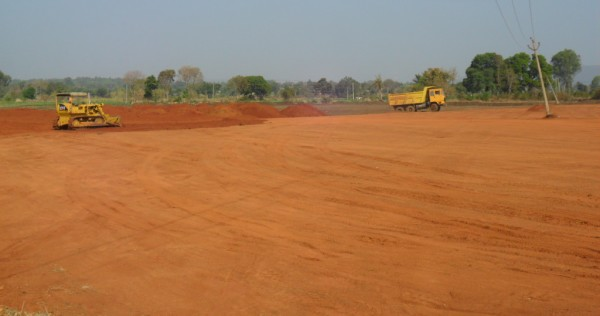 Leveling of ground for runway extension at Belgaum Sambra airport