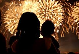 mother and child fireworks