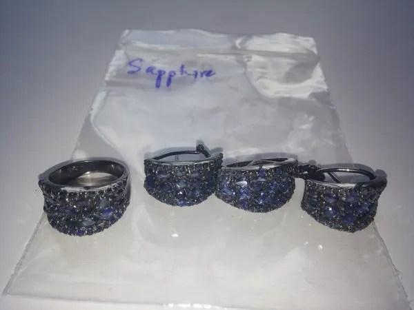 радированое серебро с сапфирами в камбодже