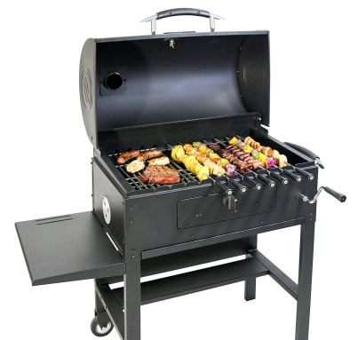 Blackstone 3-in-1 Kabob Charcoal Grill - Barbecue - Smoker - With Automatic Rotisserie - 11 custom heavy-duty skewers included