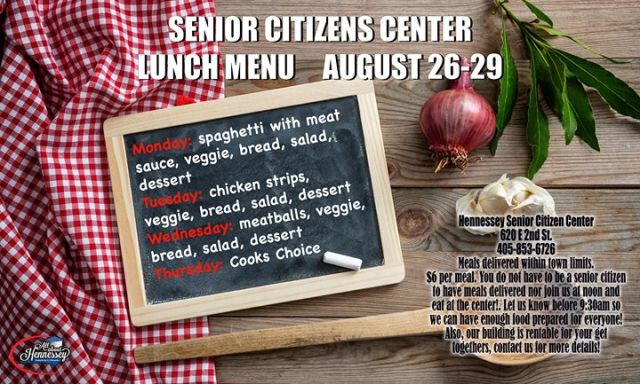 SENIOR CITIZENS MENU AUGUST 26-29     - All About Hennessey