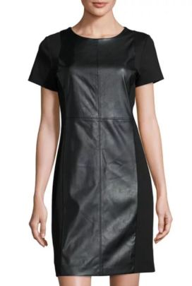 MICHAEL Michael Kors Faux-Leather Ponte Sheath Dress, Black (On Sale $59.40)