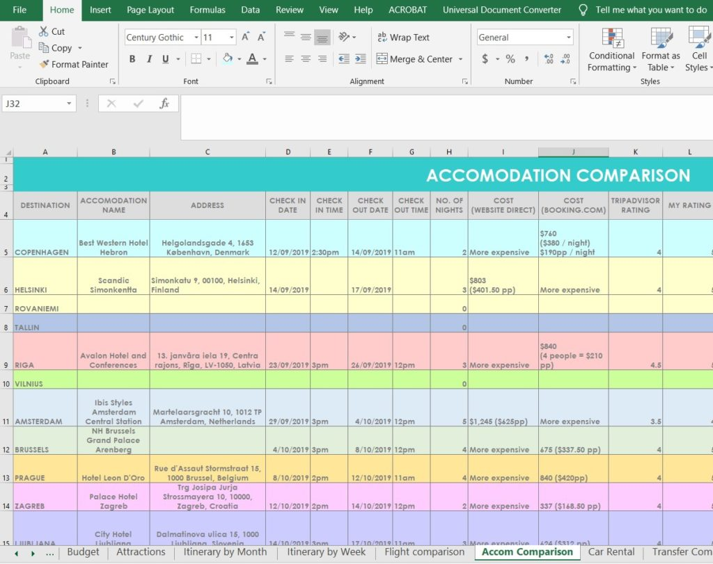 How I Use Excel To Organize All My Travel Plans Research